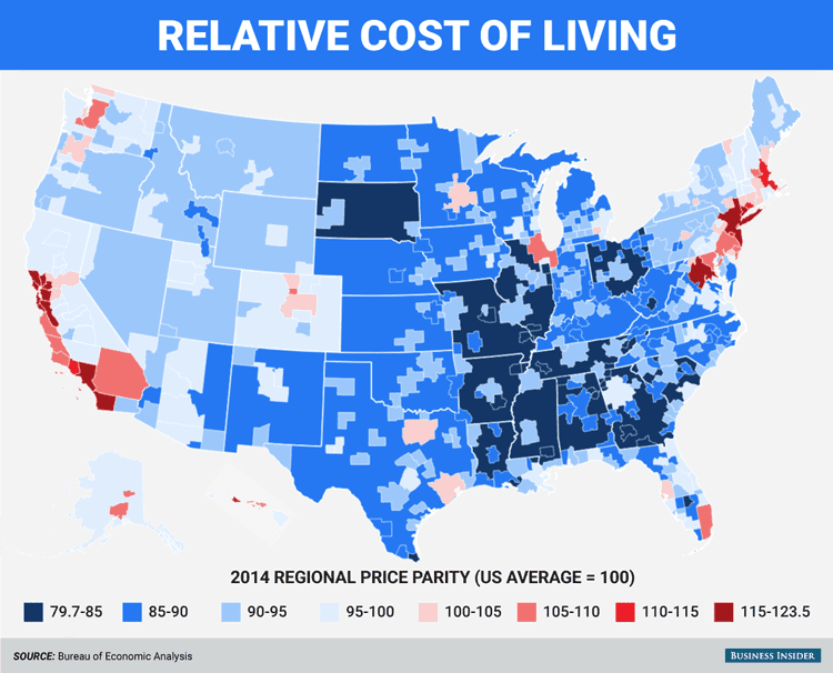 Relative cost of living. Map: Business Insider with data from Bureau of Economic Analysis, 2014.