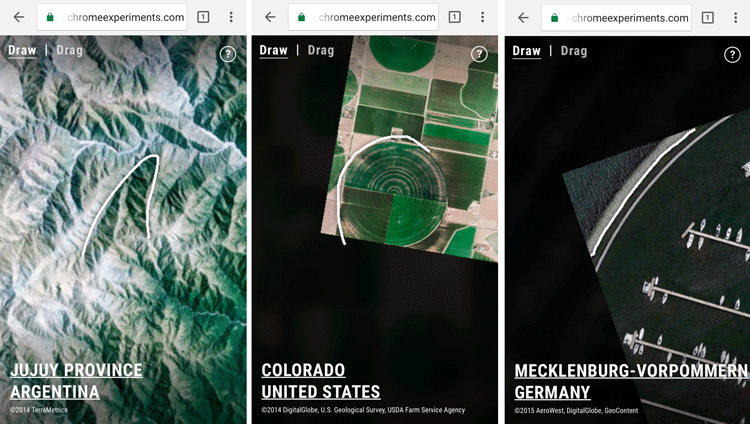 Screenshots showing Land Lines matching scribbles to satellite imagery features.