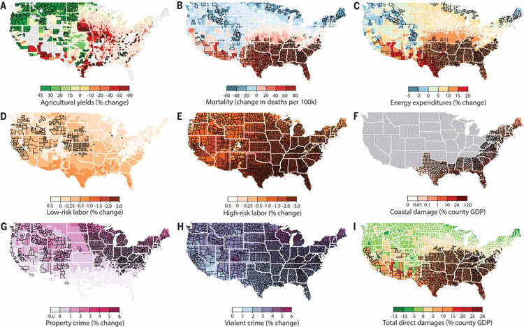 Maps showing how climate change will adversely affect the United States in areas of agriculture, crime, life span, property damage, and labor. Source: Hsiang, et. al, 2017.