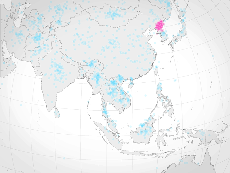 A zoomed in view of the results of the poll asking 1,746 adults to located North Korea (area highlighted with red dots). Each dot represents one guess. Map: NY Times based on data from Kyle Dropp.