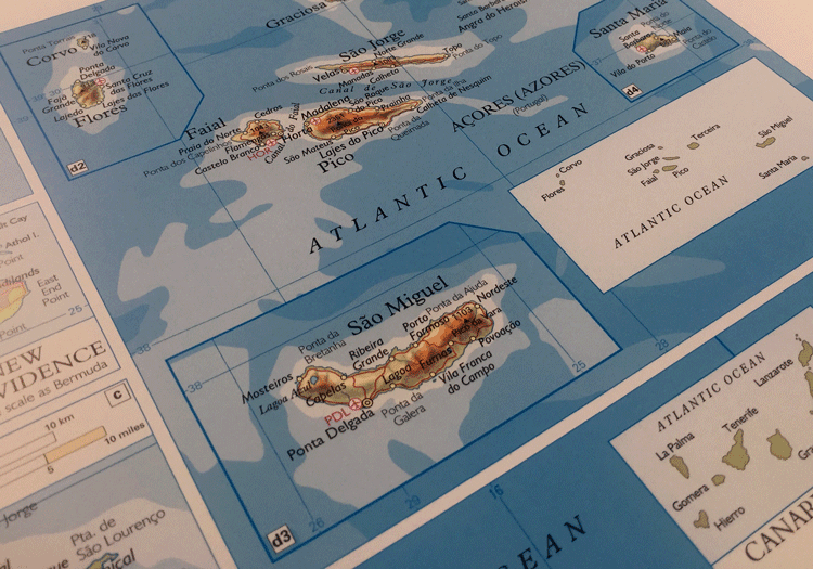 "Close up view of ""Islands in the Atlantic"". Source: Oxford World Atlas, 23rd Edition."