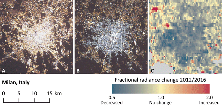 Change in lighting technology in Milan, Italy, observed from space.