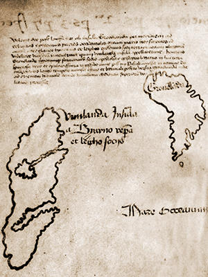"""A detailed section of the Vinland Map depicting Greenland, on the right, and the eponymous """"Vinland"""" on the left. Image: Yale University."""