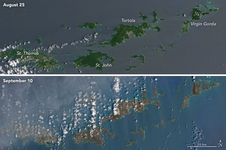 These Landsat 8 images, acquired August 25 and September 20, 2017 show the before and after effects of Hurricane Irma on the British and U.S. Virgin Islands. Source: NASA, public domain.
