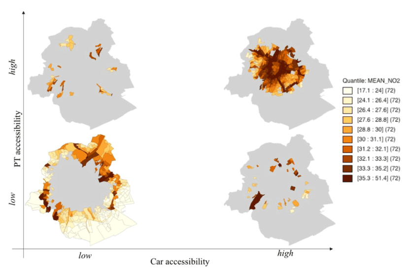 Location of census wards showing different combinations of public transport (PT) and car accessibility, and their pollution level.  Figure: da Schio, Sansen, & Boussauw, 2018.