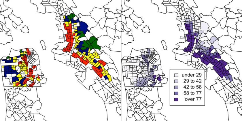 "Side-by-side maps highlight the reverse correlation between Home Owner's Loan Corporation rating (green indicating ""best,"" blue indicating ""still desirable,"" yellow indicating ""definitely declining"" and red indicating ""hazardous."" ) and asthma-related emergency room visits per 10,000 residents. Maps: Anthony Nardone, UC Berkeley."