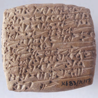 Tablet Kt 83-k 117 from which ancient city names were extracted.