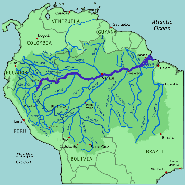 Map showing the Amazon River drainage basin. Amazon river is highlighted in bold. Map: Kmusser, MediaWiki Commons, CC BY-SA 3.0