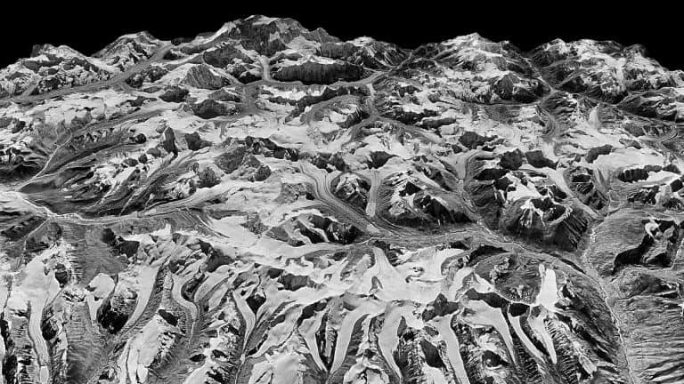 Oblique view of the Himalayas on the border of Sikkim, India and eastern Nepal, captured Dec. 20, 1975 by a KH-9 HEXAGON spy satellite. Such declassified images were used by researchers in a new study of Himalayan glaciers. (National Reconnaissance Office/U.S. Geological Survey). Via Melting of Himalayan Glaciers Has Doubled in Recent Years. Columbia University.