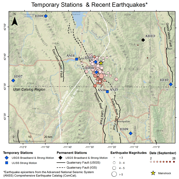 Map showing aftershocks from a 5.3 magnitude earthquake occurring on September 2, 2017, at 05:57 pm MDT beneath the Aspen Range in southeastern Idaho. Source: University of Utah
