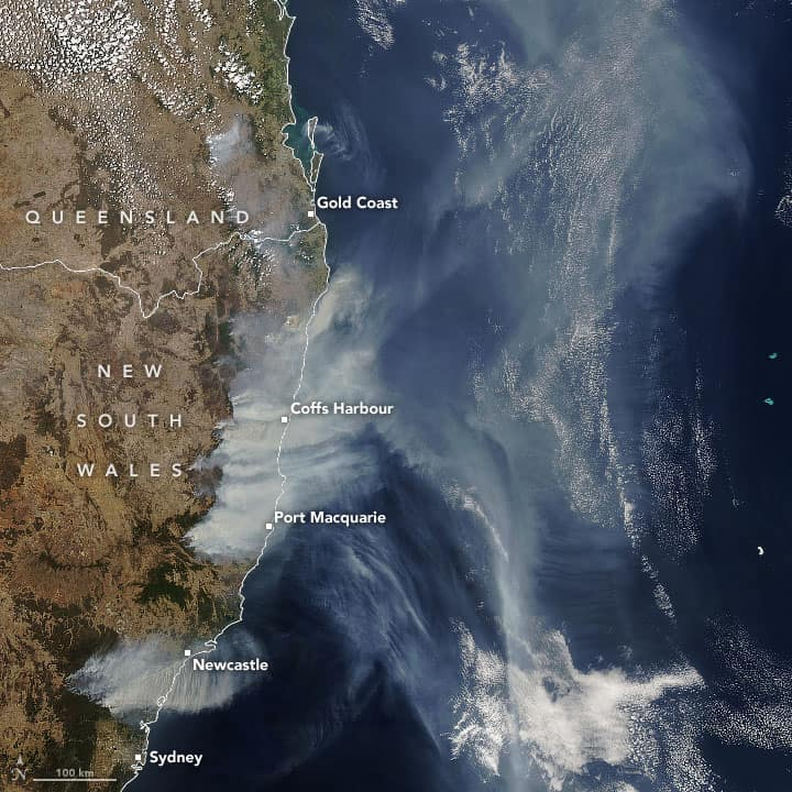 Wildfires burning in New South Wales (NSW) and Queensland, Australia. Satellite image: NASA's Aqua satellite, acquired November 19, 2019.