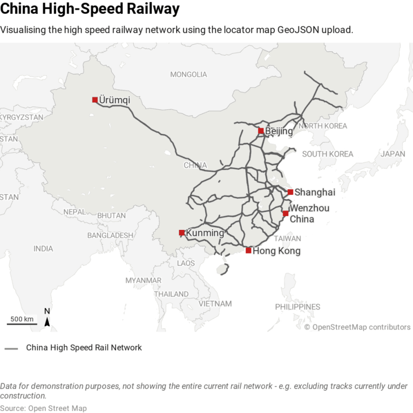 China High Speed Rail Network. Map created by Mirko Lorenz, Datawrapper
