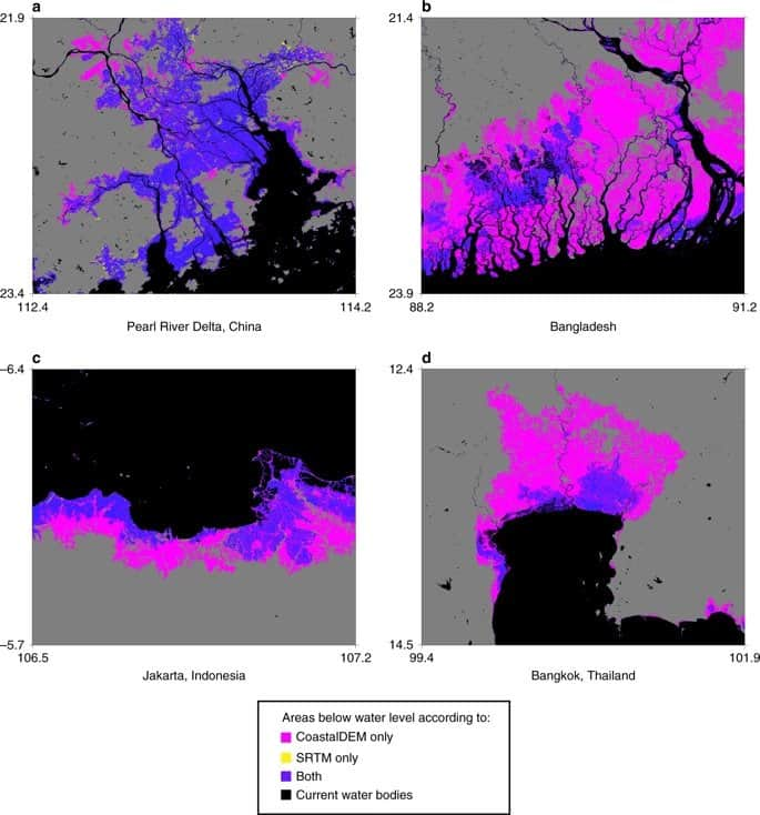 Comparative maps for modeling flood risk for (a) the Pearl River Delta, China; (b) Bangladesh; (c) Jakarta, Indonesia; and (d) Bangkok, Thailand. Maps: Kulp & Strauss, 2019.
