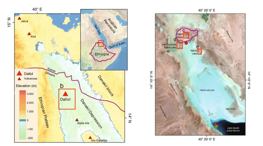 Map showing the area of study in Dallol, Ethiopia. Map: Belilla et al., 2019
