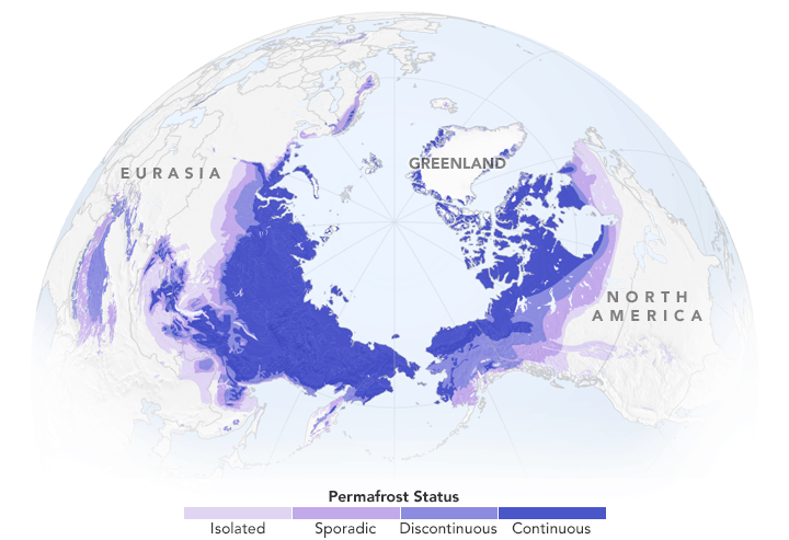 Map of permafrost. Map: Joshua Stevens, using data from the National Snow and Ice Data Center