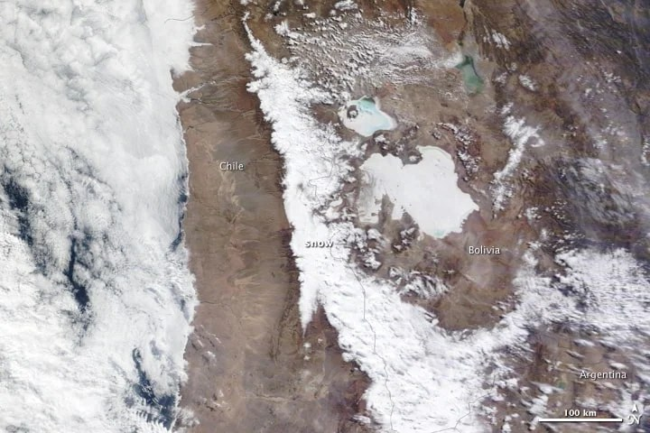The Atacama Desert, which normally receives only 1 to 3 millimeters of rain a year, had a rare snowfall in 2011.  Image: NASA, public domain.