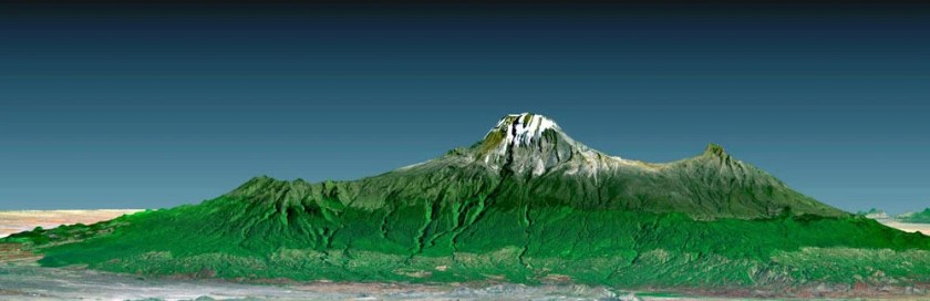 This 3-D perspective view of Mount Kilimanjaro was generated using topographic data from the Shuttle Radar Topography Mission (SRTM), a Landsat 7 satellite image, and a false sky. Image: NASA/JPL/NIMA