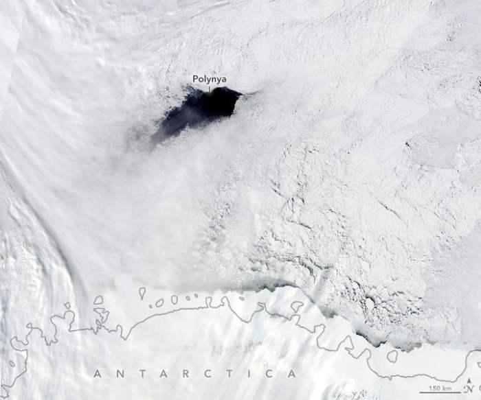 Maud Rise polynya.  Image: NASA, September 25, 2017.