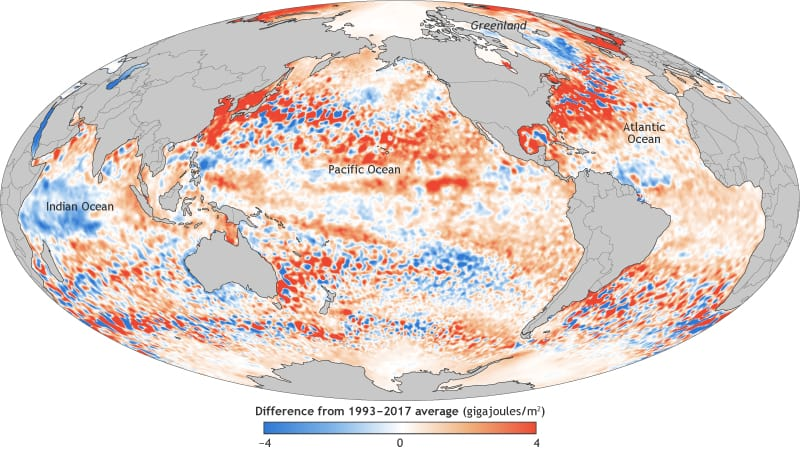 Map of ocean heat content in the upper ocean (from the sea surface to a depth of 700 meters, or 2,300 feet) for 2017 relative to the 1993–2017 baseline. Source: NASA.