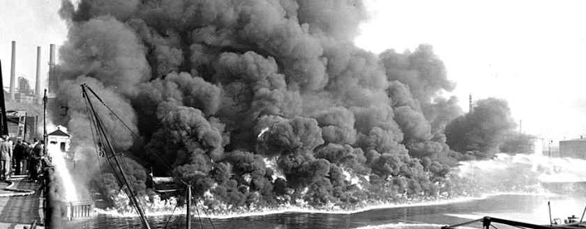 Fire on the Ohio's Cuyahoga River in 1952. Photo: Cleveland Press Collection at Cleveland State University Library.