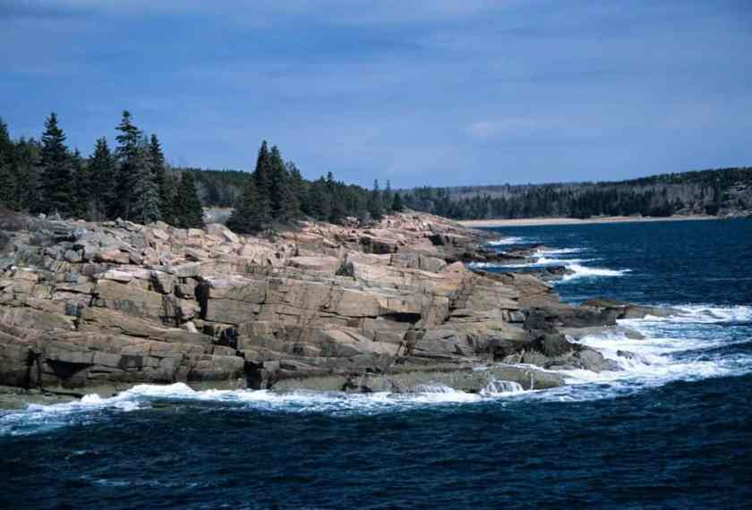 Physical weathering by waves at Arcadia National Park in Maine.  Photo: John J. Mosesso, USGS. Public domain.