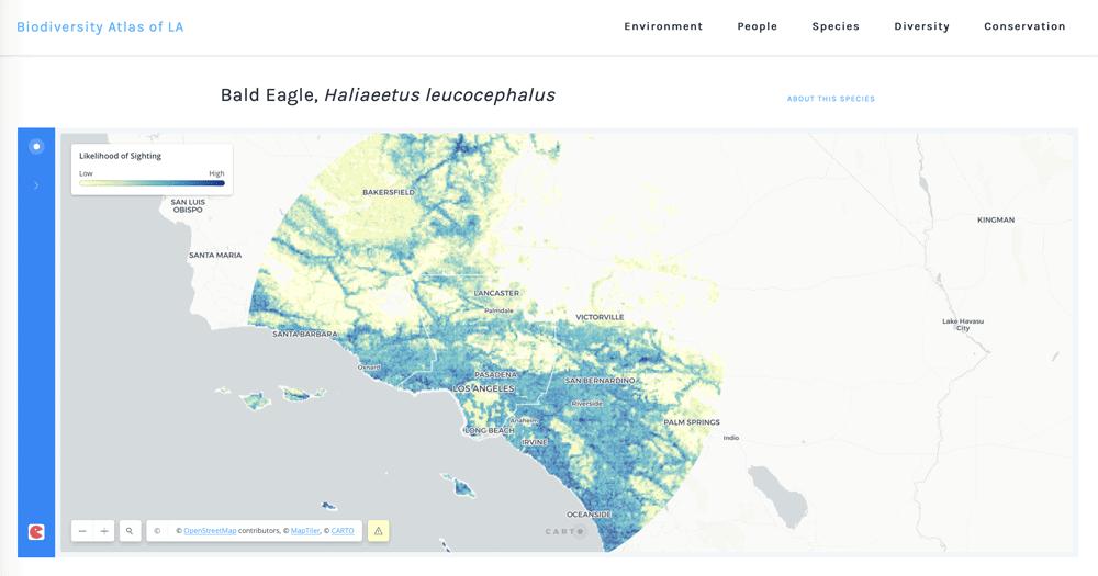 Screenshot from the Biodiversity Atlas of LA County