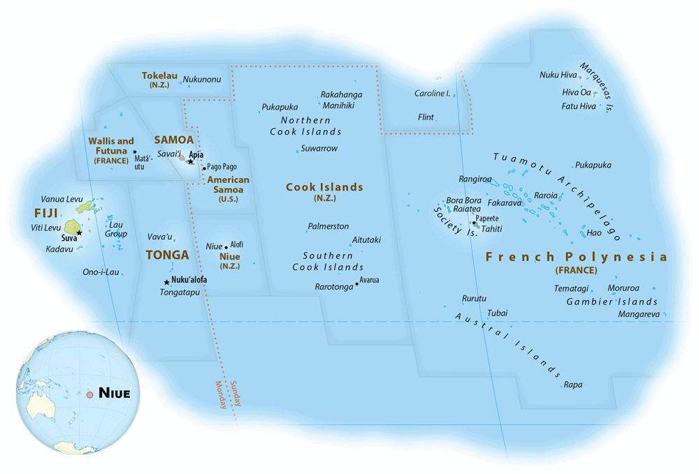 Map showing the location of Niue. Map: Equal Earth Wall Map, public domain.