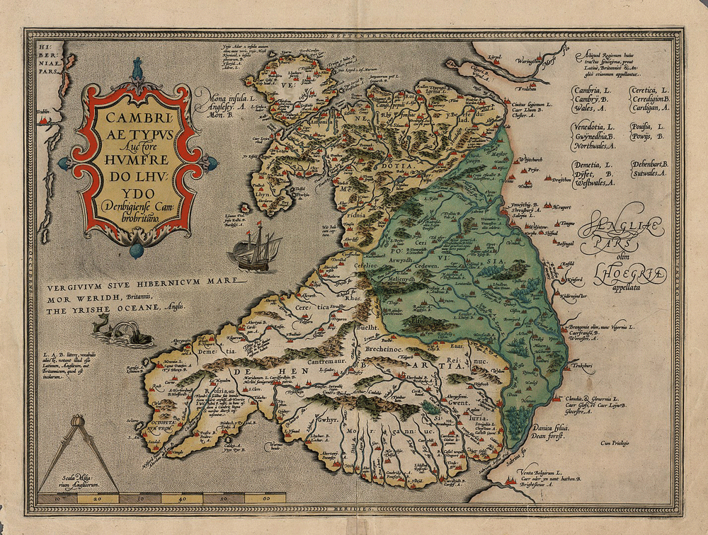 A 1574 version of Humphrey Llwyd's 1573 map of Wales, Cambriae Typus. Map: National Library of Wales via MediaWiki Commons, public domain.