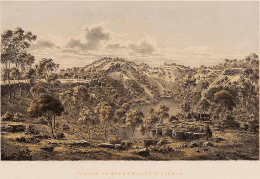 An 1860 lithographic print by Eugene von Guerard entitled Crater of Mount Eccles (Victoria).  Public domain via MediaWiki Commons.