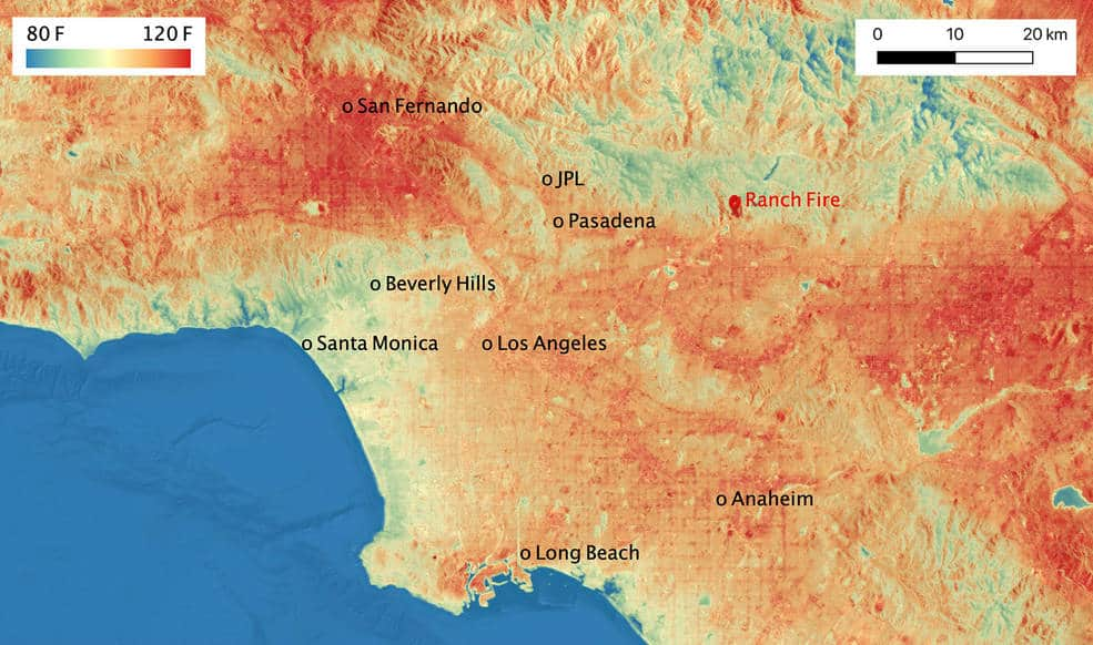 ECOSTRESS temperature map shows the land surface temperatures throughout Los Angeles County on Aug. 14, 2020. Map: NASA/JPL-Caltech