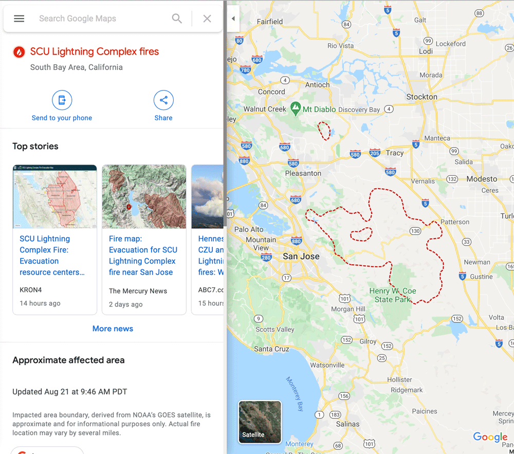 Google has added near real-time wildfire boundaries to its maps.