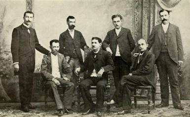 Supervisors of Porto Rican Census: [Standing] Luis Muñoz Morales, Enrique Colóm, Manuel Badrena, Guillermo Riefkohl [Seated] Luis A. Torregrosa, Ricardo Hernández, Félix Seijo.