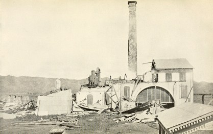 Ruins of sugar mill destoyed by hurricane of August 8, 1899. Añasco.