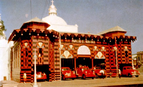 The gaudy fire house of Ponce, on Puerto Rico's south coast, is a point of unfailing interest for tourists. It was built in 1883 as an exhibition hall for Ponce's fair of that year.