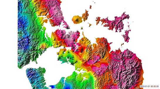 Auckland DEM shown with Gravity anomaly (colours) and known volcanic vents