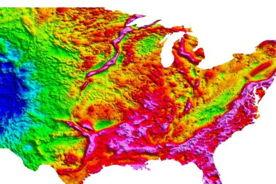 Most of the gravity highs on this map (hot colors for high; cool ones for low) correspond with mountains or other topographical features. But the long snake-like gravity high heading south from the tip of Lake Superior is another story. There's nothing on the surface to explain its buried presence. Credit: USGS