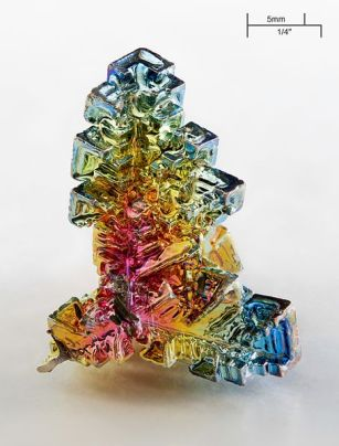 Artificially grown bismuth crystal. Credit: Alchemist-hp/Wikipedia