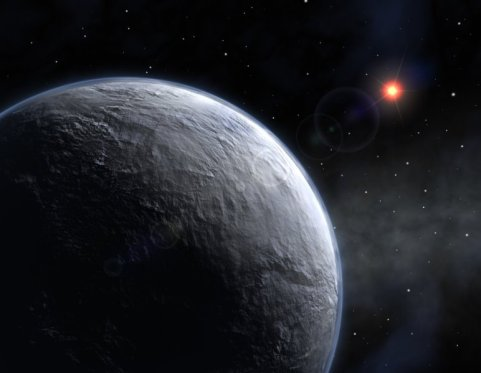 An artist's depiction of an ice-covered planet in a distant solar system resembles what the early Earth might have looked like if a mysterious mix of greenhouse gases had not warmed the climate. Credit: European Southern Observatory (ESO)