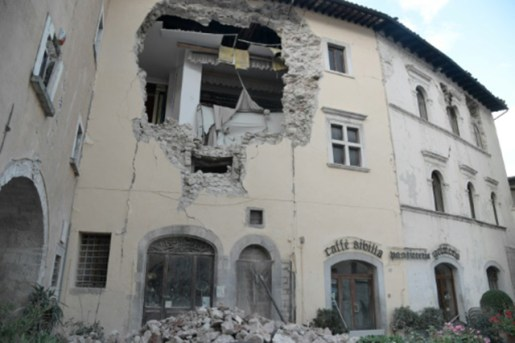A building in the village of Visso, central Italy, is damaged following twin earthquakes on October 26, 2016