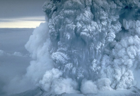 During Mount St. Helens' eruption on May 18th, 1980 a vigorous plume of ash erupted and remained for more than nine hours, eventually reaching 12 to 15 miles (20–25 kilometers) above sea level. Shown here is a close-up view of the May 18 ash plume. Credit: Wikipedia