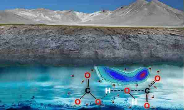 Carbon in the fluid of the Earth's mantle is not in the form of carbon dioxide but rather in carbonate and bicarbonate ions, researchers found. Credit: Prof. Giulia Galli, et al.