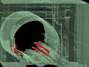 En rouge les équipements existants qui entrent en collision avec le véhicule