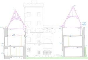 Plan de la façade d'un château à rénover