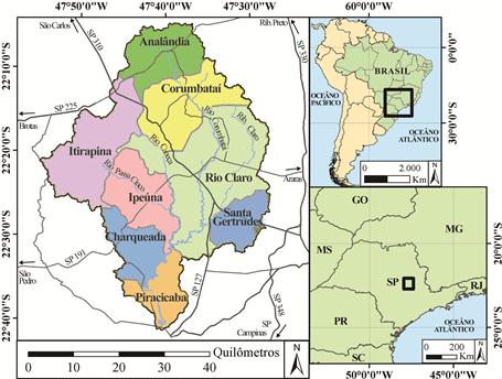 Municípios da Bacia do Corumbataí (território do Projeto Geoparque Corumbataí). Fonte: André Kolya (2018)