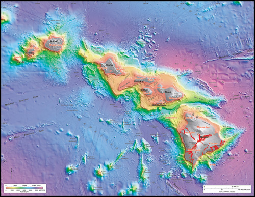 Hawaii's volcanoes revealed - U.S. Geological Survey Geologic Investigations Series I-2809 by Barry W. Eakins, Joel E. Robinson, Toshiya Kanamatsu, Jiro Naka, John R. Smith, Eiichi Takahashi, and David A. Clague.