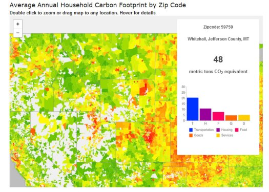 "U.S. Average Annual Household Carbon Footprint by Household. ""Source: UC Berkeley CoolClimate Network, Average Annual Household Carbon Footprint (2013)"""