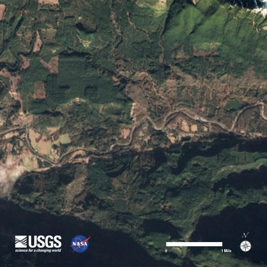 Oso, Washington area Landsat 8 image acquired  January 18, 2014.