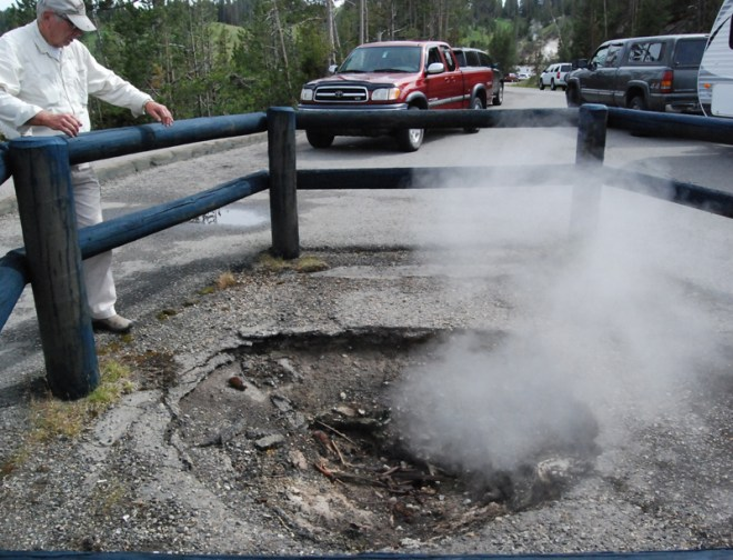 A small part of the parking lot at Mud Volcano fell victim to thermal activity several years ago.