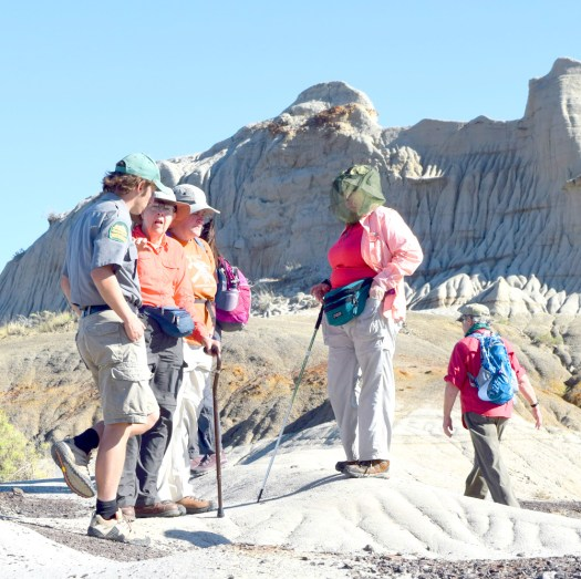 Part of our field trip group discusses Centrosaur Bone Bed 43 during our guided hike at Dinosaur Provincial Park, Alberta.