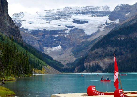 "Some of us took to the water and canoed around Moraine Lake near Lake Louise, Alberta. Moraine Lake is located within the valley known as the ""Valley of the Ten Peaks"" which was once featured on the Canadian twenty-dollar bill."